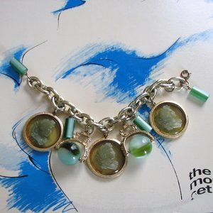 chunky vintage cameo charm bracelet w green lucite